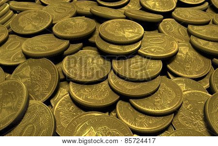 Composition In The Form Of Gold Coins Scattered Mountains