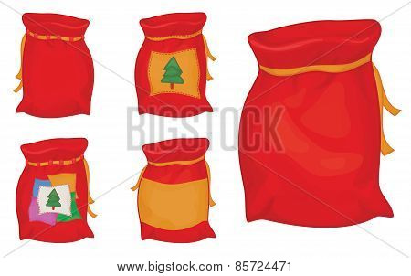 Vector Santa Claus sacks.