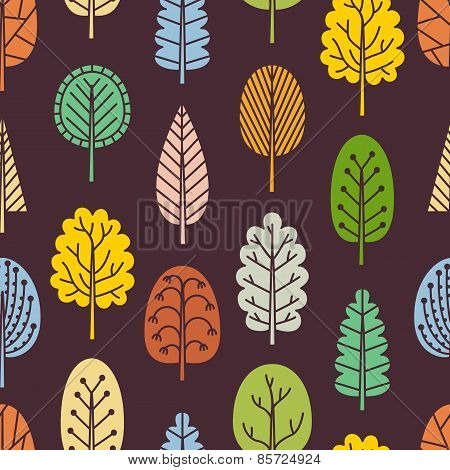 Seamless Pattern With Hand-drawn Trees.