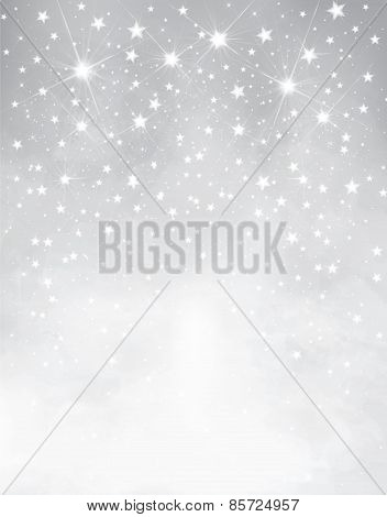 Vector Silver Starry Background.