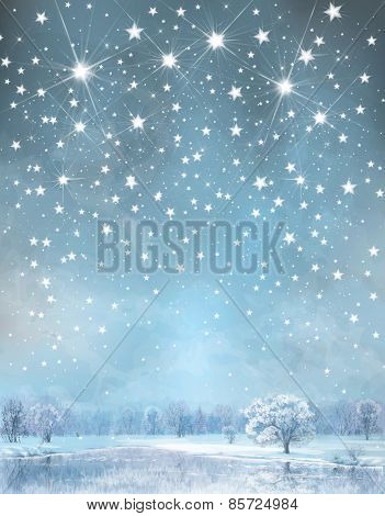 Vector winter wonderland background.