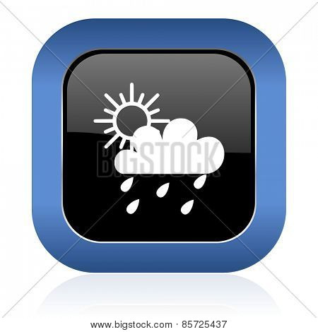rain square glossy icon waether forecast sign