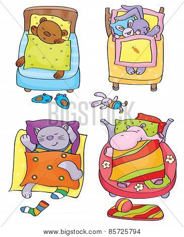 Vector sleeping cute animals.