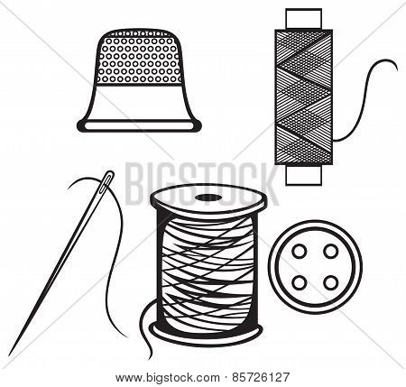 Spool with threads, sewing button and thimble