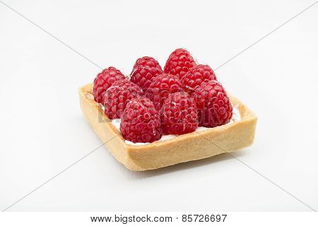 Raspberry Dessert With A Bright Red Color With Cream And Cakes
