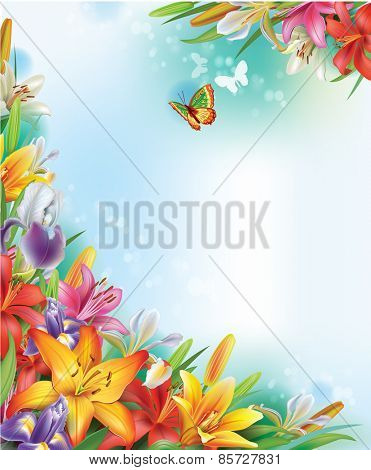 Background of lilies and irises flowers