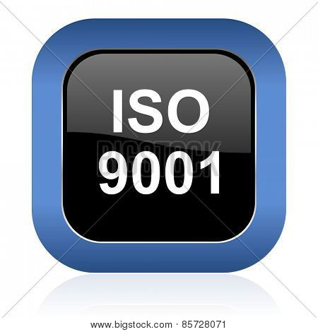 iso 9001 square glossy icon