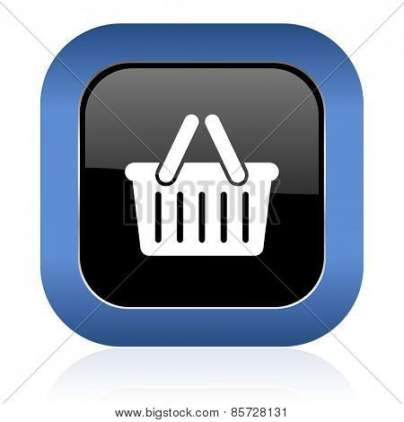 cart square glossy icon shopping cart symbol