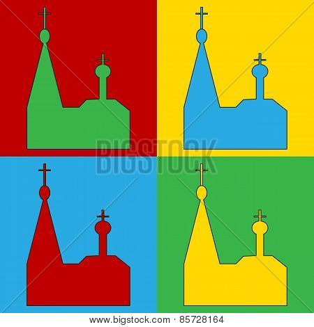 Pop Art Orthodox Church Symbol Icons.