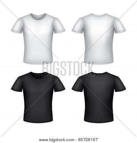 White Man T-shirt Template Isolated Vector