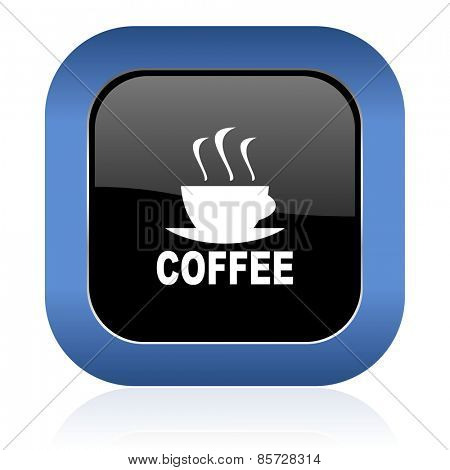 espresso square glossy icon hot cup of caffee sign