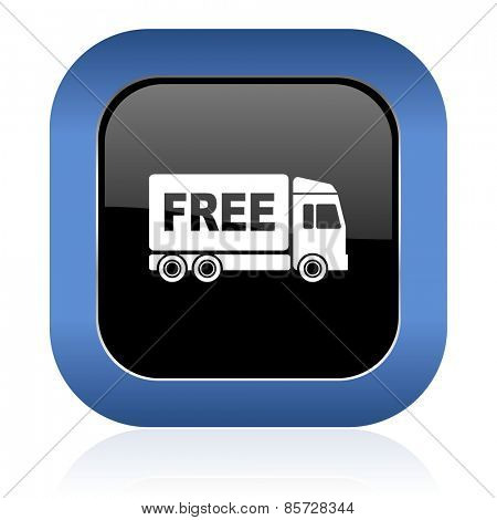 free delivery square glossy icon transport sign