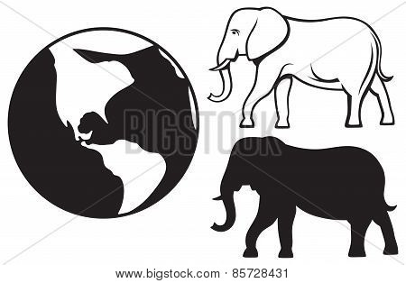 Elephant and planet