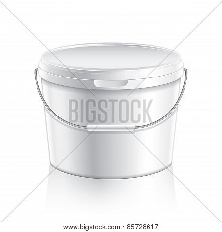 White Plastic Bucket For Paint Or Food Vector