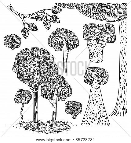 Vector trees design elements.