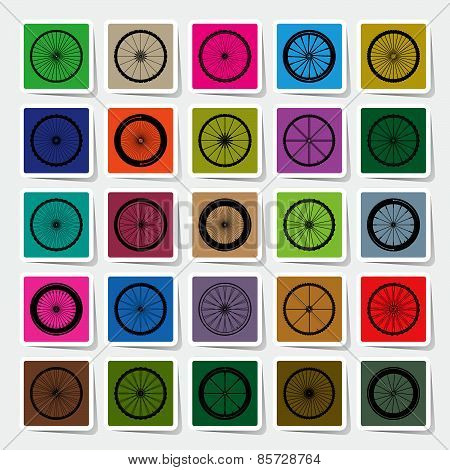 Bicycle Wheels Square Sticker Set Vector Illustration