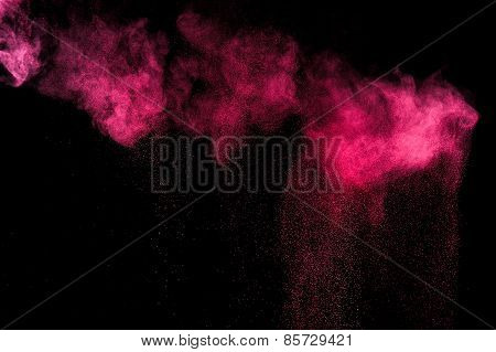 Abstract red and pink paint Holi.