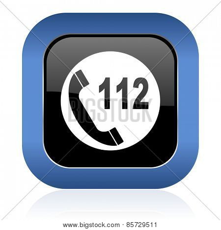 emergency call square glossy icon 112 call sign