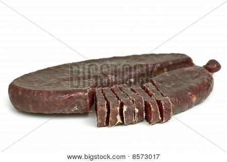 Piece Of Turkic Summer Sausage (sucuk)  And Few Slices