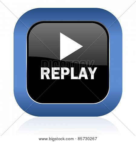 replay square glossy icon