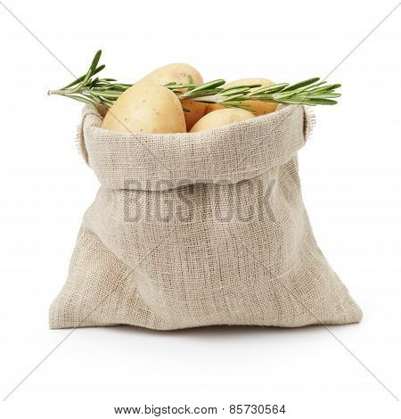 raw fresh potatoes with rosemary in burlap bag isolated on white