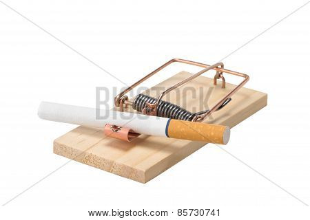 Cigarette In Mousetrap - Isolated