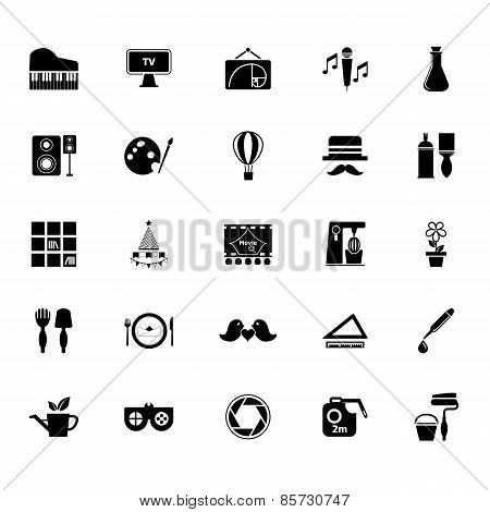 Art Activity Icons On White Background