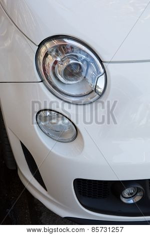 The Car Headlights. An Exterior Detail