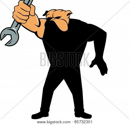 Bulldog Mechanic Holding Spanner Shield Cartoon