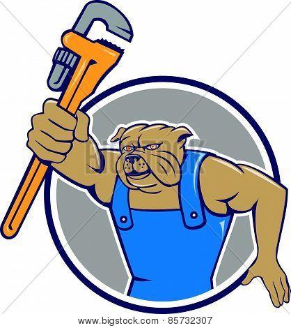 Bulldog Plumber Monkey Wrench Circle Cartoon