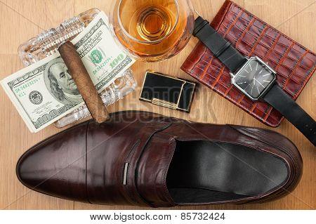 Men's Accessories, Cigar, Ashtray, Lighter, Money, Shoe, Glass  On  Wooden Floor