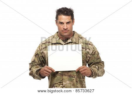 Army Man With Empty Placard