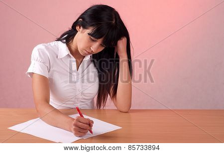 Female Student Writes The Exam