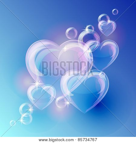 Romantic background with bubble hearts shapes on blue background.