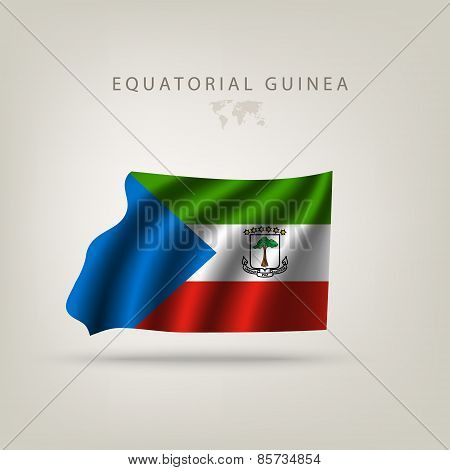 Flag Of Equatorial Guinea As A Country With A Shadow