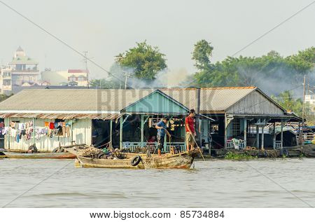 CHAU DOC, VIETNAM, JANUARY 3, 2013: Port on Hau River (Bassac River) in Chau Doc in Mekong Delta