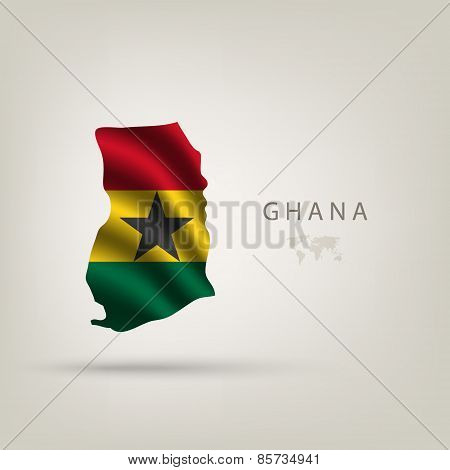 Flag Of Ghana As A Country With A Shadow