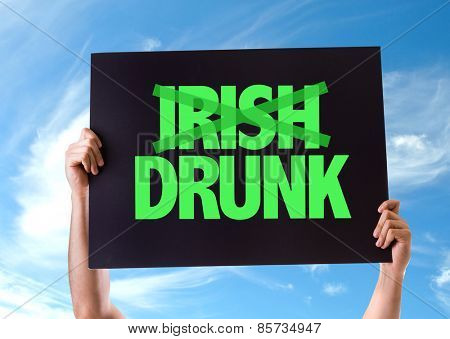 Irish Drunk card with sky background