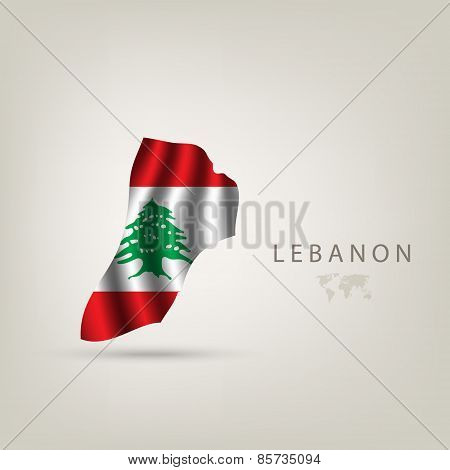 Flag Of Lebanon As A Country With A Shadow