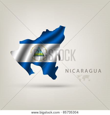 Flag Of Nicaragua As A Country With A Shadow