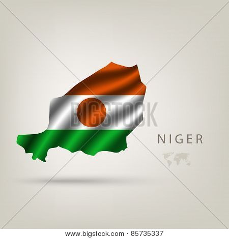 Flag Of Niger As A Country With A Shadow