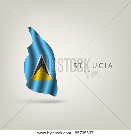Flag of St Lucia as a country with a shadow