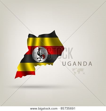 Flag of UGANDA as a country with a shadow