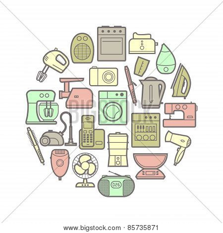 Circle set of silhouette home appliances icons