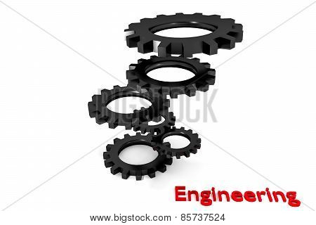 Tower Of Black Colored Metallic Cogwheels Hovering Engineering