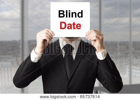 Businessman Hiding Face Behind Sign Blind Date
