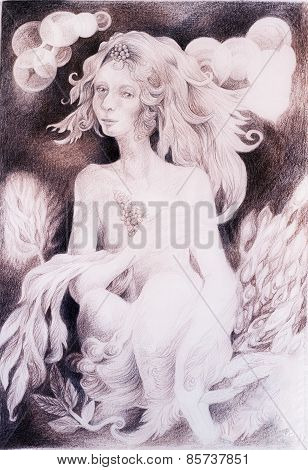 Beautiful Gentle Fairy Woman Creature With Leaves And Wavy Hair, Fantasy Monochromatic Drawing