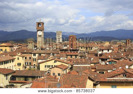 Aerial View Of Lucca's Cityscape (italy)