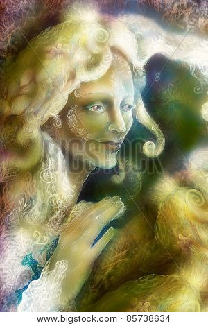 Beautiful Radiant Elven Fairy Woman Creature, Fantasy Colorful Painting
