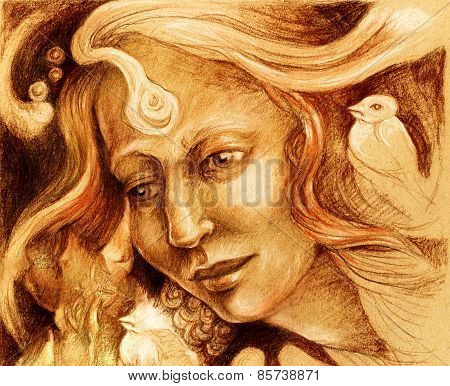 Fairy Woman Face Drawing, Sepia Monochromatic Profile Portrait